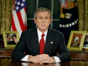 George Bush announcing Operation Iraqi Freedom in 2003